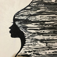 She..' Original acrylic painting with pouring technique