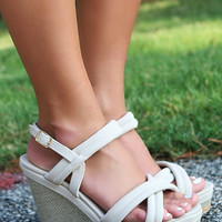 Walking On Clouds Strappy Textured Platform Wedges