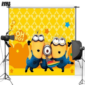 DAWNKNOWN Cartoon Yellow Vinyl Backdrop Minions New Fabric Flannel Photography Background For Baby Photo studio lv094