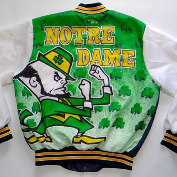 Vintage NOTRE DAME Fighting Irish Chalk Line Jacket Starter Swingster Football