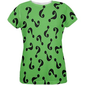 Halloween Riddle Me This Costume All Over Womens T-Shirt