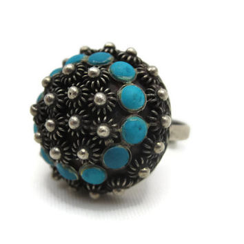 Turquoise Ring - Sterling Silver, Mexican, Adjustable, Boho Jewelry, Signed Statement Ring