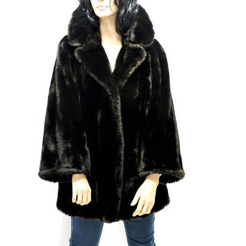 Faux fur coat / size M / vintage 80s faux mink coat /  sable faux fur coat / 1980s Intrigue USA tissavel fake fur coat
