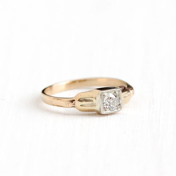 Vintage 14k White & Rosy Yellow Gold Old European Diamond Solitaire Ring - Size 3 3/4 Art Deco 1930s Fine Engagement Bridal Two Tone Jewelry