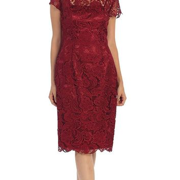 May Queen - Short Sleeve Sheer Scalloped Lace Formal Dress