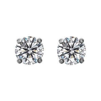 1.50tcw Round Diamonds in 14K White Gold Solitaire Stud Earrings