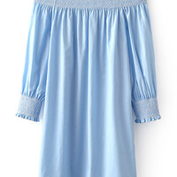 Blue Long Sleeve Smock Boat Neck Dress