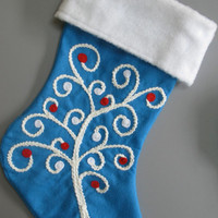 Candy-Cane Curly Tree Christmas Stocking