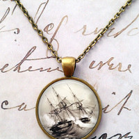 Ship Necklace, Pirate, Sailor, Nautical, Ocean, Science, Steampunk, Pendant T563