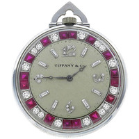 Tiffany & Co. Platinum, Diamond and Ruby Art Deco Pocket Watch