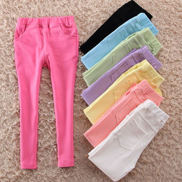 Free shipping Special offer girl's skinny pants trousers skinny leggings cotton pants lovely candy color leggings for KD2-7Y
