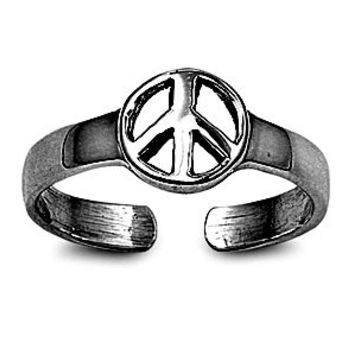 Black Gold Plated Silver Peace Sign Mid Finger / Mid Knuckle Ring