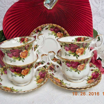 Royal Albert China Dinnerware England Old country roses 4 Cup & saucer First