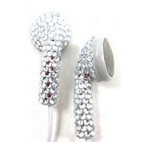 Silver (White Cord) Crystal Rhinestone Earphones Earbuds with Microphone