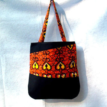 Tote Bag in Orange and Black Tote Bag Vlisco African Print with Black Canvas Patchwork