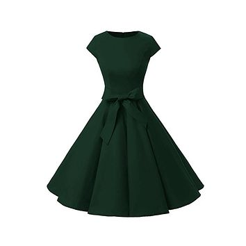 Vintage Inspired Cap Sleeve Dress, Size XS - 3XL, Forest Green