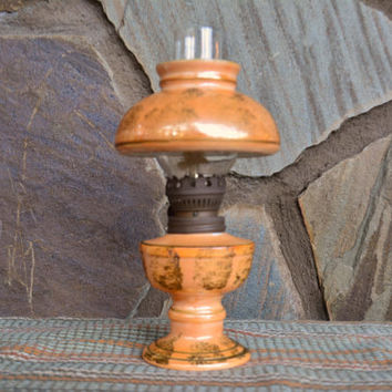 Lusterware Miniature Oil Lamp, Vintage DABS 4 piece small oil light, Unique Ceramic Lamp, Luster Ware