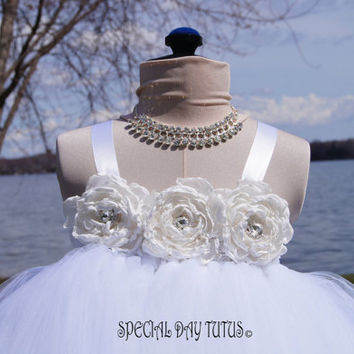 Flower Girl Dress, White Flower Girl Dress, Tutu Dress, Princess Dress, Birthday Girl Dress, Christening Dress, Baby Dress, Baby Tutu,