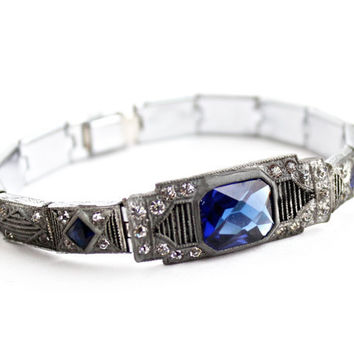 Antique Art Deco Blue Stone & Rhinestone Bracelet - 1930s Silver Tone Panel Jewelry Signed Nov-e-Line / Sapphire Blue