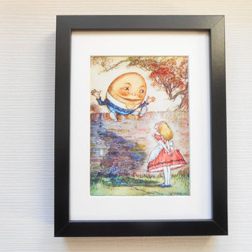 551 - Beautiful Alice in wonderland print, Print with frame, Alice Humpty Dumpty, Art, Vintage, Drawing, Bedroom present, Bedroom pictures