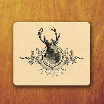 Deer Drawing Mouse Pad Old Parchment Graphic MousePad Vintage Beautiful Office Pad Work Accessory Personalized Custom for Techer Gift