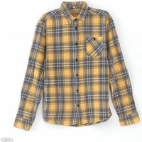 Free Nature Clothing Flannel Button Down Shirt for Men in Yellow FW044Z-542YLW