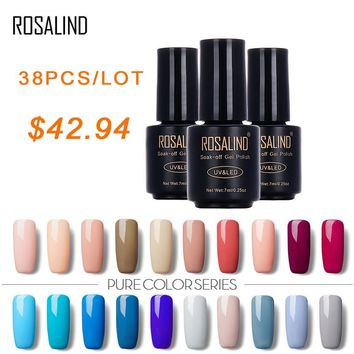 ROSALIND 7 ML 38 PCS/Lot Pure Color Soak Off Nail Gel Polish Art Gel Nail Polish Lacquer Vogue Elegant Varnish