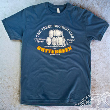 HARRY POTTER UNISEX for Men and Woman Tshirt The Three Broomsticks at Hogsmeade Drink Butterbeer & Firewhiskey Ringspun Cotton Indigo Blue