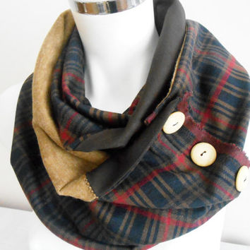 Men's scarf, Plaid scarf men, Dark blue plaid scarf, Unisex scarf, Navy blue red scarf,Male loop scarf, Winter scarf men, Men infinity scarf