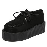 2017 Creepers Size 34-40 Women Shoes Woman Casual  Chunky Flat Heel Platform Womens Flats Lace-Up Black Shoe For Ladies Girls