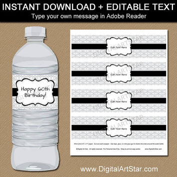 Silver Birthday Water Bottle Labels, Silver Party Decorations, Damask Birthday Decor, Silver and Black Wedding Bottle Wraps Instant Download