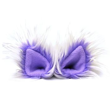 Faux Fur Party Accessory Costume Furry Ear Clips — Light Purple