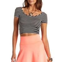 BOW-BACK STRIPED CROP TOP