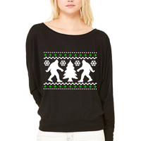 Ugly Holiday Bigfoot Christmas Sweater WOMEN'S FLOWY LONG SLEEVE OFF SHOULDER TEE