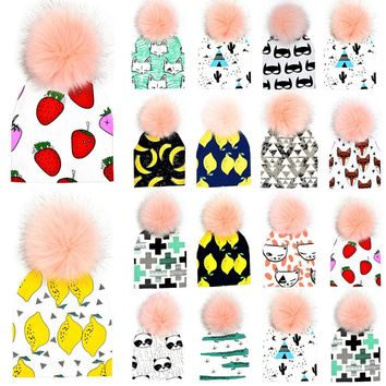 Baby Boys Girls Winter Knitted Warm Pom Pom Cartoon Cap Kids Beanie Hat For 6-36 Months 13 Style