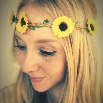 10% SALE Sunflower headband,flower jewelry,festival,yellow flower headpiece,boho headband,bridesmaids flower crown,fall wedding hair accesso