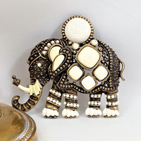 Large Elephant Brooch, Plastic Accent Beads, Asian Elephant, Vintage Jewelry