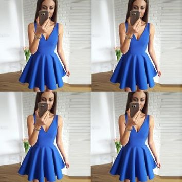Blue V-neck Straps Stain Short Homecoming Dresses,Sleeveless Straps Homecoming Dresses