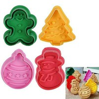 4pcs/set 3D Christmas DIY Fondant Cake Pastry Cookies Plunger Cutter Mold Mould
