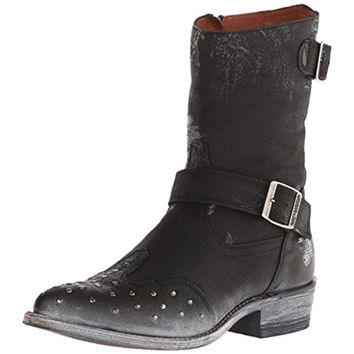 Harley-Davidson Womens Everly Leather Studded Cowboy, Western Boots