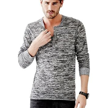River Long-Sleeve Henley Sweater | GUESS.com