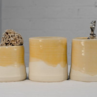 Three Butter Yellow Minimalist Pottery Cylinder Containers, Perfect For Organization And Display