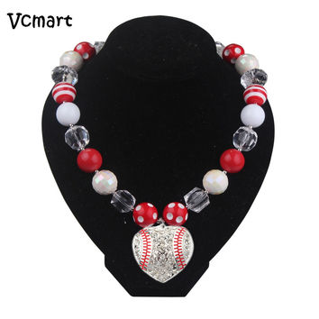 Vcmart Red Chunky Necklace, Baseball Kids Chunky Bubblegum Beads Necklace, Kawaii Pendant Necklace Jewelry 2pcs
