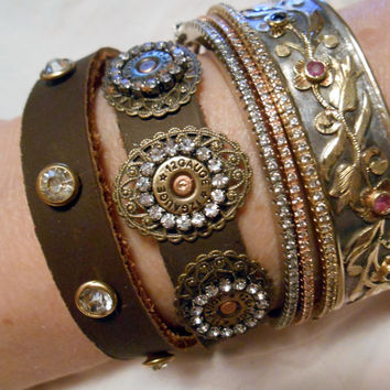 Shot gun Bullets, Shotgun Bullet, Rhinstones, Cowgirl, Country Western Girl, Redneck Girl, Rustic, Country, Leather Wrap Cuff Bracelet Art