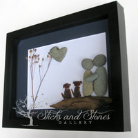 Engagement Gift -Unique Couple and Dogs Gift-Personalized COUPLE'S Gift- SticksnStone Designs- Couple and Pets Gift -Pebble Art -Mixed Media
