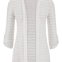 Striped Open Front Roll Tab Sleeve Cardigan - Gray