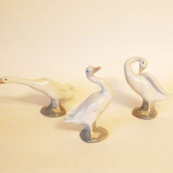 Vintage  Lladró Duck Figurines Set of 3 Little Duck and Young Ducks Retired Handmade in Spain