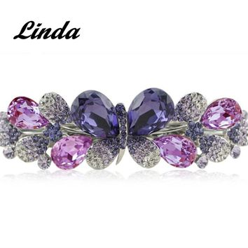 Hand-made Violet Flower Crystal Barrettes Sweet Grand Barrette Hair Clip Rhinestone Embellished Fashion Barrette RY004
