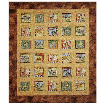 Baby Quilt, Nursery Bedding, Handmade Toddler Blanket, African Safari Animals, Shower Gift