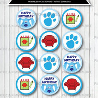 Printable Cupcake Toppers,Blues, Notebook, Red, Thinking Chair, Clue, Handy Dandy,  Birthday, Decorations, DIY,  INSTANT DOWNLOAD